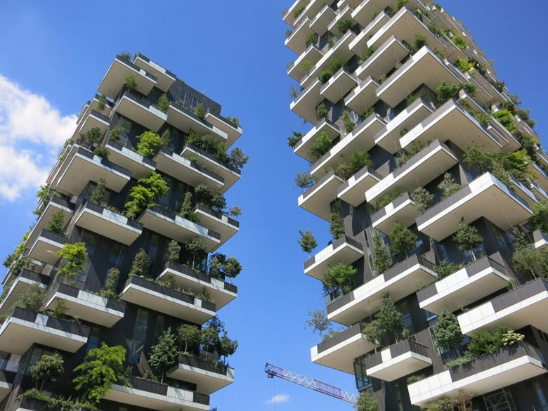 Residential towers in Milan, Italy, use filtered gray water from the building itself to irrigate trees, an example of innovative water use. Stanford's Water in the West program has developed financing frameworks that could be used to encourage such uses.